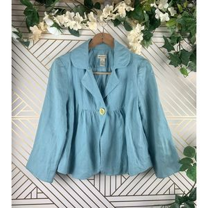 Anthropologie ELEVENSES Blue Blazer Jacket Size 6